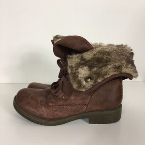 Mossimo Brown Fur Combat Boots